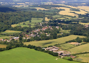 Aerial view from the southeast of the village. The Hanger is on the left. 030.