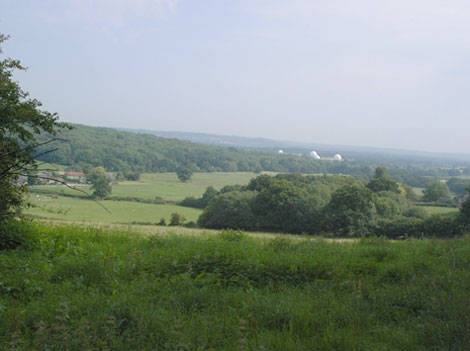 The view north towards Oakhanger, and the Surrey Hills beyond. 735